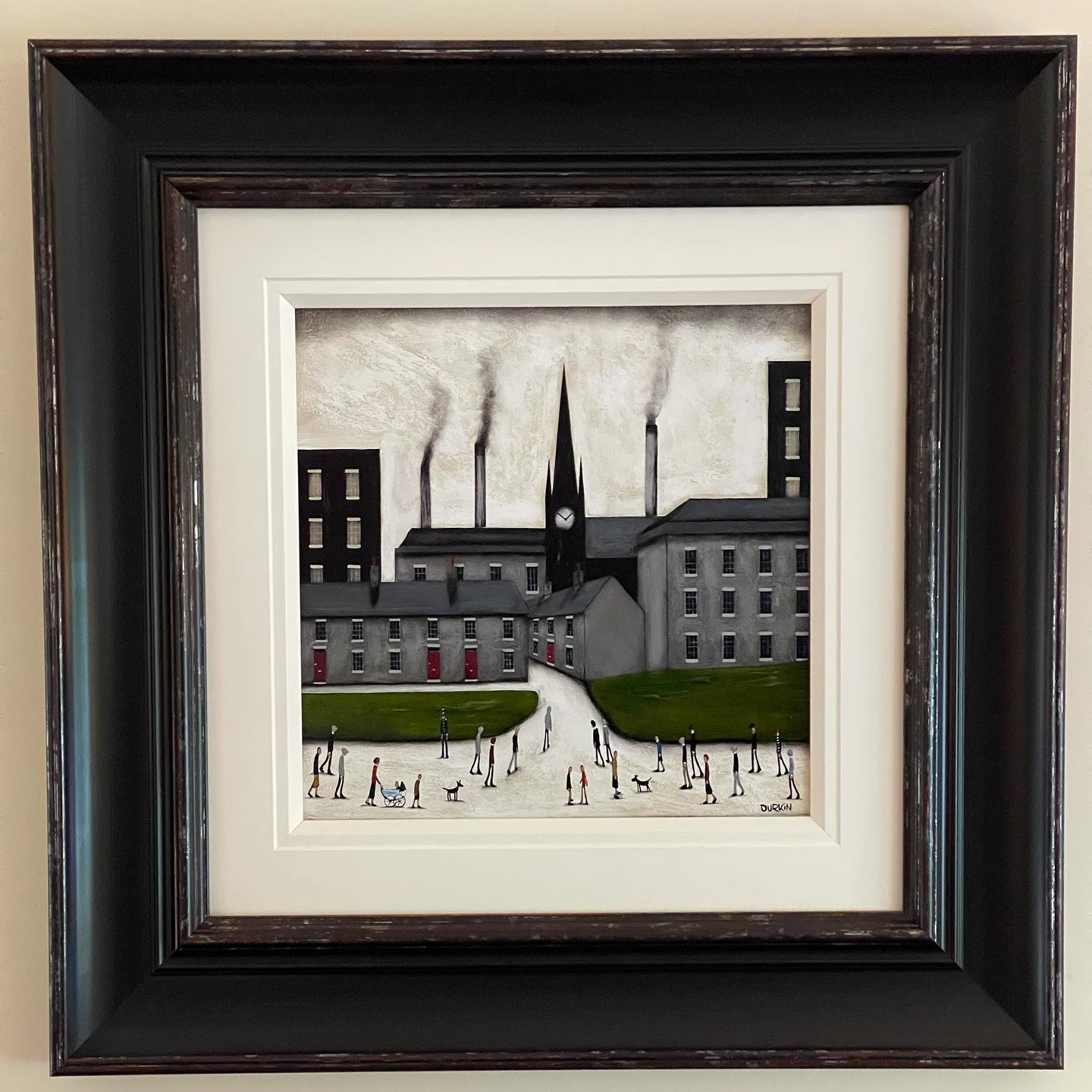 Our latest addition is this original painting by @seandurkin2 purchased from @indigoartgallery Sean's dad stole an original L. S. Lowry in 1972 which Sean remembers being in the house and which ultimately influenced his painting career.  His work now hangs amongst other places next to the actual Lowry painting his dad stole, in the Middlesbrough Institute of Modern Art (MIMA)